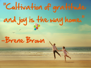 Cultivation of gratitude and joy is the way home. Brene Brown